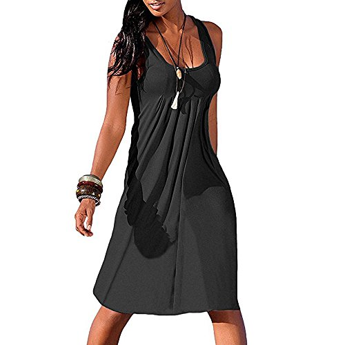 Women's Dresses Summer Sexy Sleeveless Pleated Ruched Casual Midi A-Line Dress Loose Tunic Tank Dress Beach Sundress for Teen Girls Ladies Clearance Sale