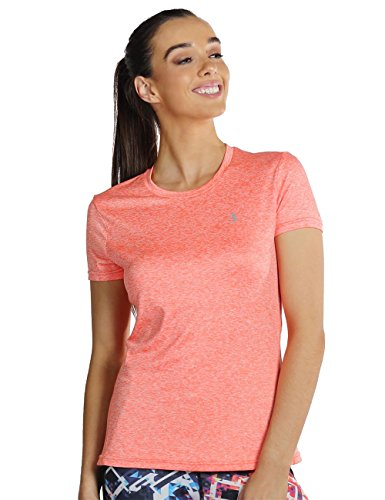 icyZone® Damen Sport T-Shirt Running Fitness Shirts Sportbekleidung Kurzarm Oberteile Shortsleeve Top S Orange Heather