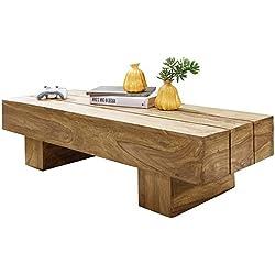 Mesa de Centro Rústica de madera de Acacia rectangular