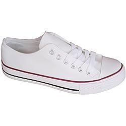 Zapatillas Blancas Canvas Lona de Mujer Estilo Casual y Deportivo, Zapatos Color Blanco T.40