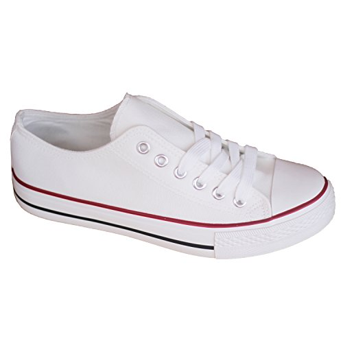 Sneakers Women White Canvas Shoes. White Trainers Retro Style Low Sneakers with Rubbersole Plimsole Lace up Footwear