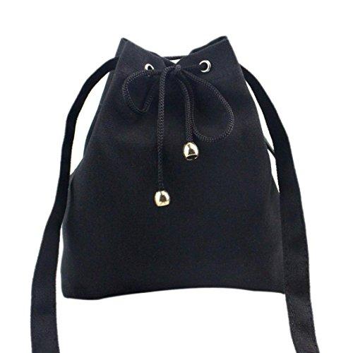 ZARU Frauen-Segeltuch-Drawstring-Handtaschen-großer Tote-Geldbeutel (Schwarz) (Große Tote Drawstring)