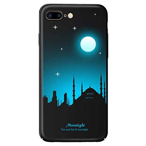 Luminous Phosphoreszierendes Hard Kunststoff Case für Apple iPhone 8Plus Schwarz Fall Night Glow Glowing Moonlight Sky Muster Schutz 3D Bemalt Cover - Deckenfluter Ist Muster