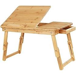 SONGMICS Table de lit pliable, en Bambou, Table pour ordinateur portable, Hauteur réglable, avec Tiroir, Dimensions 54,5 x 75 x 29 cm LLD01N