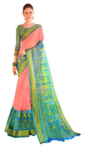 Apple Blossom Organza Silk Saree with blouse latest collection (Pink)