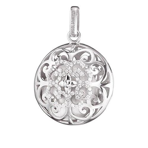 Engelsrufer Luna Anhänger für Damen mit Perlmutt Klanglinse 925er-Sterlingsilber Weiße Zirkonia Größe 30 mm