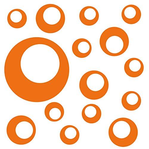kleb-Drauf® | 15 Retro-Punkte | Orange - glänzend | Autoaufkleber Autosticker Decal Aufkleber Sticker | Auto Car Motorrad Fahrrad Roller Bike | Deko Tuning Stickerbomb Styling Wrapping -