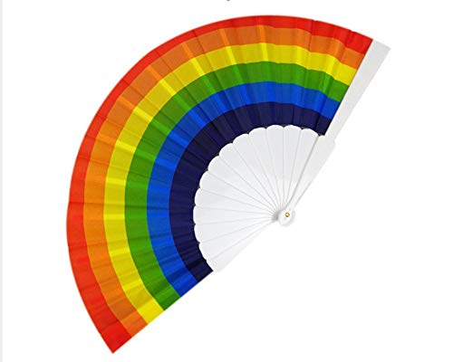 r,Regenbogen Hand Faltfächer Seide Faltfächer, Vintage Style Regenbogen Design Held Fans Zum Geburtstag, Abschlussfeier, Urlaub, Mi ()