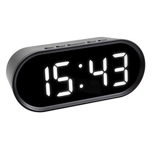 Ziffer Batterie (TFA Dostmann Digitaler Wecker mit LED-Leuchtziffern, inkl Innentemperatur, einstellbare Snooze Dauer, Kunststoff, schwarz, (L) 150 x (B) 50 x (H) 65 mm)
