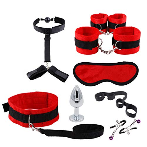 Nylon-anzug (Sayla Sexy Spielzeug für Damen Nylon Bondage Anzug Maske Handschellen Anal Butt Plug Sexy Spielzeug Set SM Game Kit 8 STÜCKE)