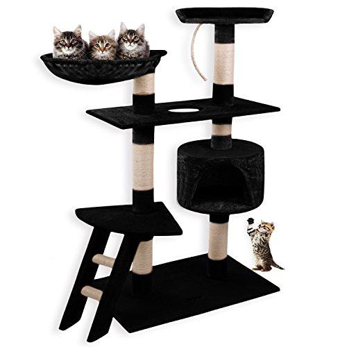 *Lovpet® Katzen Kratzbaum Katzenkratzbaum Katzenbaum ✓ Kletterbaum ✓ Treppe ✓ Sisal | Liegemulde | 5 Farbvarianten | Farbe: schwarz*
