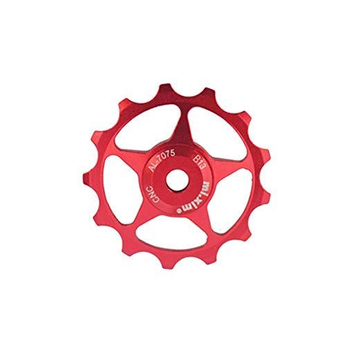Jannyshop Fahrrad Schaltwerk 13T Aluminium-Legierung hinten Getriebe Jockey Wheel Fahrrad Schaltwerk Riemenscheibe Führungslager (rot)