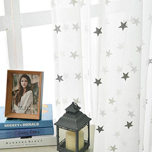 PENVEAT Moderner Stern stickte weiße bloße Vorhänge für Wohnzimmer-Schlafzimmer-Küche Tulle-Vorhänge scherzt Baby-Raum-Tür-Fenster-Vorhänge, graue Sterne, W100xH270cm, Tülle