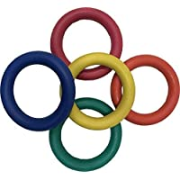 Tennikoit Ring Traditional Garden Throwing School Games Pack Of 5 Colour Quoits