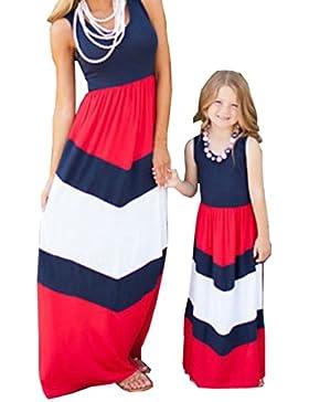 D-Pink Mama und Mädchen Gestreifte Kamisol Kleidung MaxiKleid