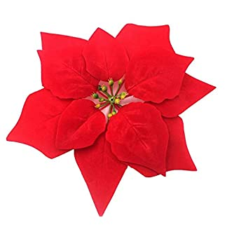 NYKKOLA Flores Artificiales de Navidad, decoración de popinsettia roja, Realista, Cabeza Floral de Seda, árbol de Navidad, Adornos de 20,32 cm de diámetro