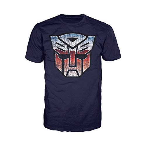 Transformers Autobot Shield Distressed Official Men's T-Shirt (Navy) (XX-Large)