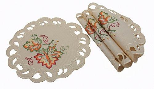 Xia Home Fashions xd160919dankbar Leaf bestickt Cutwork Fall Deckchen, 30,5cm rund, Set 4 - Doily Fall