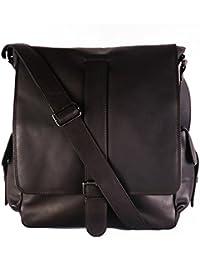 """FEYNSINN sac de messager ASHTON - XL - sac à bandoulière approprié pour 13"""", iPad - besace messenger marron en cuir véritable"""