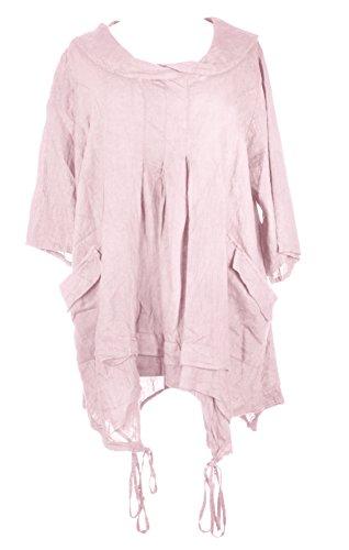 Mesdames Womens italien Lagenlook excentrique superposition manches courtes artistique collier Plain Tunique robe poches précipita une taille Plus UK 12-18 Rose clair