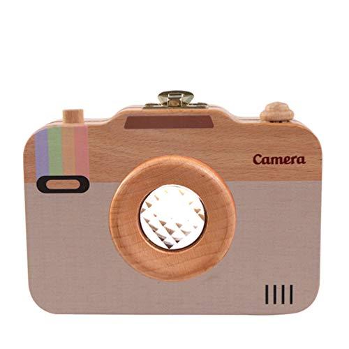Mixpring Camera Style dent de bébé Boîte en Bois respectueux de l'environnement Organiseur Mignon Boîte de Souvenir pour Enfant Décidues Dents et Lanugo -