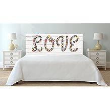 Cabecero Cama PVC Texto Love flores sobre madera blanca 150x60cm   Disponible en Varias Medidas   Cabecero Ligero, Elegante, Resistente y Económico