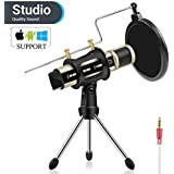 Condenser Microphone, ZealSound Recording & Broadcasting Microphone With Stand Built-in Sound Card Echo Recording Karaoke Singing for iPhone Phone WindowsMac Garageband Smule Live Stream (Gold)