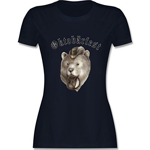 Oktoberfest Damen - Oktobärfest - tailliertes Premium T-Shirt mit Rundhalsausschnitt für Damen Navy Blau