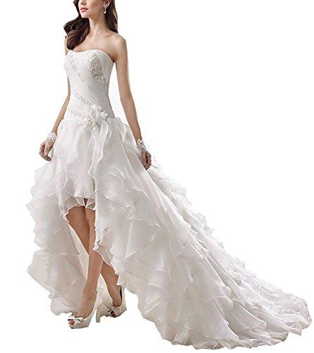 Tianshikeer Brautkleider Herzausschnitt Vorne Kurz Hinten Lang A-Linie Organza Hochzeitskleider