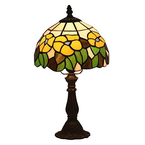 AIBOTY Vintage Tiffany Stil Glasmalerei Schlafzimmer Nachttisch Ecktisch Schreibtisch Blume Stil Kleine Lampe, 8 Zoll Lampenschirm -