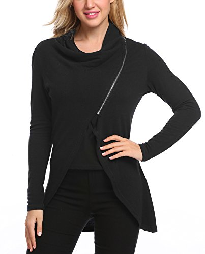 Beyove Damen Strickjacke Cardigan Langarmshirt Wasserfall Asymmetrisch Strickmantel Fit Pullover Mantel Schwarz XL -