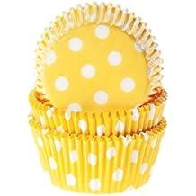 Moules à muffins motif polka dots blanc/jaune-lot de 50 caissettes en papier pour muffins
