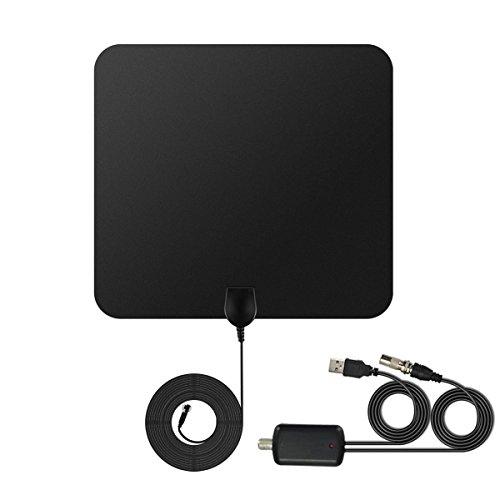 TV Antenne, Homapex 50 Miles Digital HD 1080P Verstärkte Antenne HDTV Zimmerantenne für DVB-T/DVB-T2 Fernseher,13ft Koaxialkabel und USB Powered Abnehmbarem Signal Booster