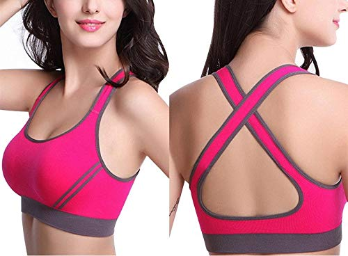 ALBATROZ Women Sexy Cross Straps Sports Bra, Push Up Shockproof Fitness Yoga Bras, Seamless Crop Top Stretch Gym Athletic Vest Free Size High Intensity(30 to 36) (deep Pink)