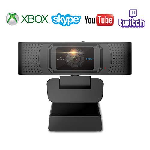 Webcam avec Cache Autofocus Caméra Computer HD 1080P Pro Stream USB Streaming Caméra Xbox Skype PC Ordinateur HD Caméra Web 1080P pour Xbox Facebook et Youtube Streamer