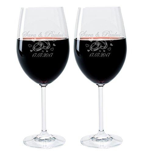Wein Riesige Gläser (2 Leonardo Weingläser mit Gravur des Namens und Motiv