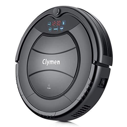 Clymen Q7 Roboter Saugroboter, automatischer Staubsauger Roboter mit Fernbedienung und Ladestation, reinigt Hartholzböden, Hartböden, geeignet bei dünner Teppiche, Schwarz