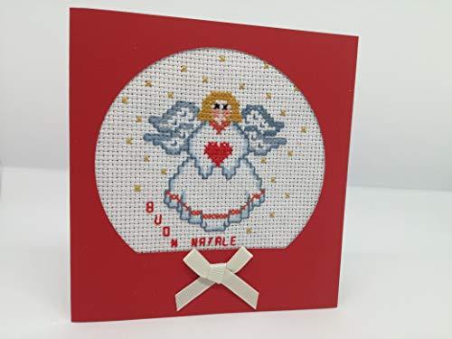 Angioletto - biglietto d'auguri (formato 12,5 x 13 cm) - auguri - rosso - natale - merry christmas