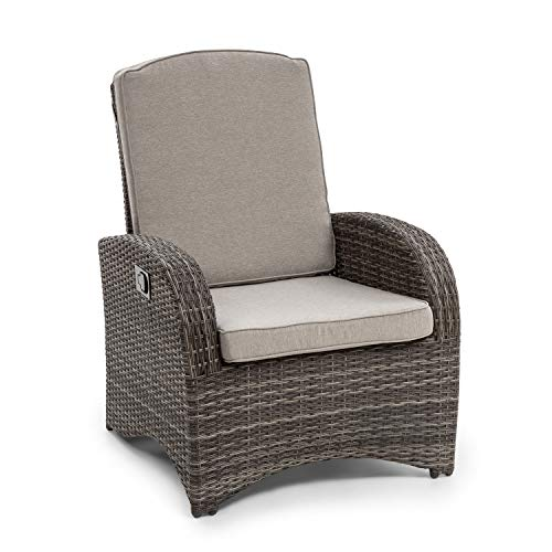 blumfeldt Comfort Siesta Sessel • stufenlos verstellbare Rückenlehne • Material Bezug: Polyester • Polsterung mit 8 cm Dicke • platzsparend zusammenlegbar • Gasdruckfeder • dunkelgrau