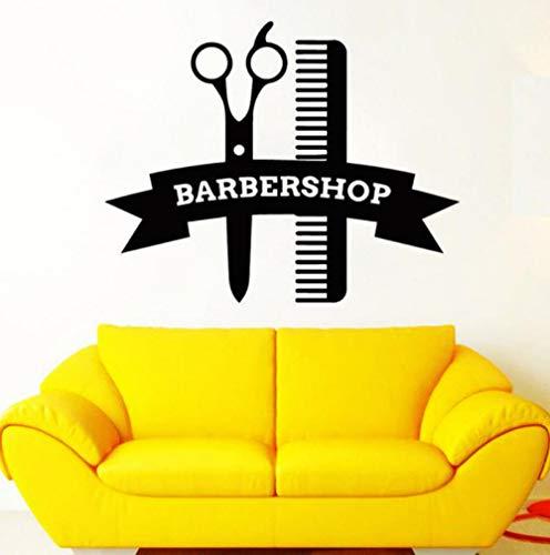 Friseur Haarschnitte Wandaufkleber Schere Kamm Vinyl Wandaufkleber Aufkleber Styling Friseur Dekoration Poster 57 * 71 cm (Metall-styling-kamm)
