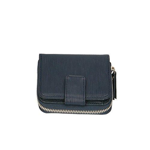 Chicca Borse Portafogli in pelle 11x10x3 100% Genuine Leather Blue