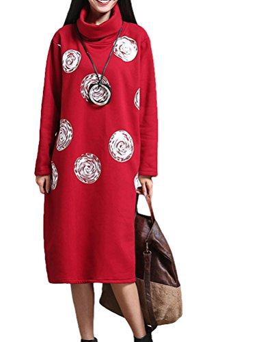 MatchLife Femme Vintage Col Roulé Coton Robe Style4-Rouge