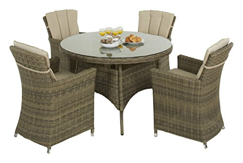 Maze rattan winchester carver chair 4 seat round dining for 120 round table seats how many