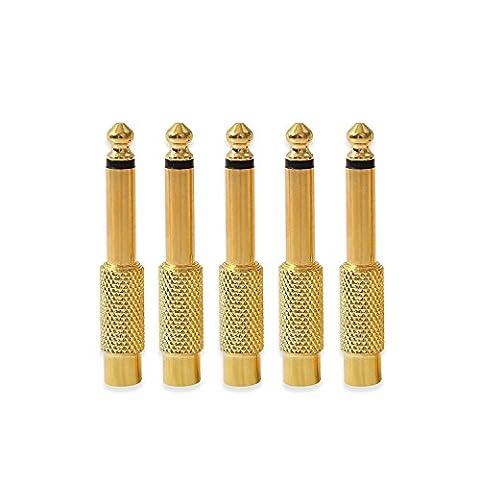 Onviantech RCA femelle vers mâle 6,35mm 1/10,2cm Audio Aux adaptateur prise jack mâle connecteur plaqué or (lot de 5)