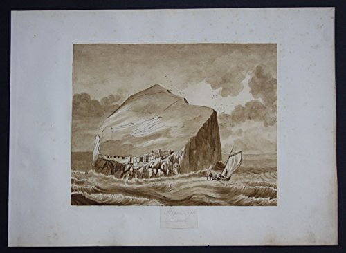 Grafik - Bass Rock Scotland island watercolor Aquarell Biedermeier