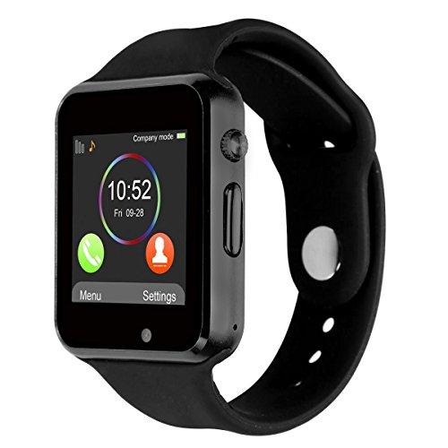 Bluetooth Smartwatch [Correa suave], CHEREEKI Reloj de pulsera deportivo con pantalla táctil. smartwatch soporta tarjetas SIM/tarjetas TF (micro SD), podómetro, para Android teléfonos inteligentes