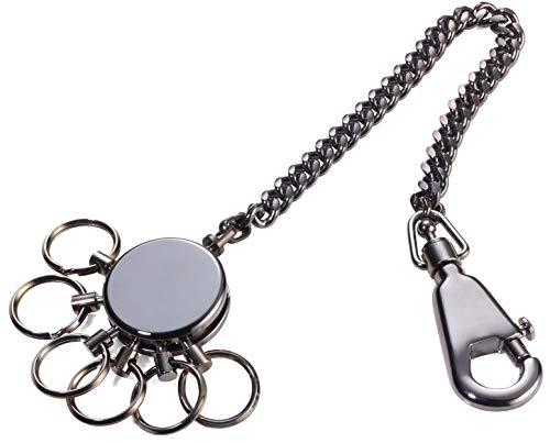 TROIKA PATENT CHAIN - KR10-60/GM - Schlüsselanhänger mit Kette - Schlüsselkette- inkl. Karabinerhaken - 6 ausklinkbare Ringe - Messing, Metall- glänzend - black chrome - TROIKA-Original