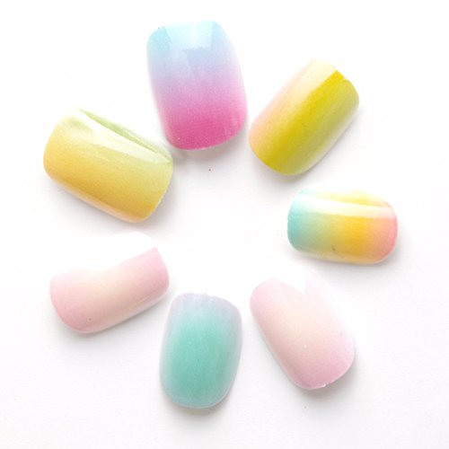 40 pcs Farbverlauf Farbe Rainbow Kinder Falsche Nägel pre-glue Press on Fake Nägel Tipps für Kits Little Girls
