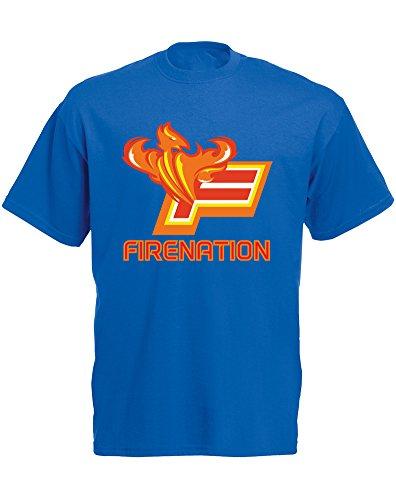 Firenation, Mann Gedruckt T-Shirt Königsblau/Transfer