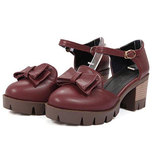 COOLCEPT Femme Classique Sangle De Cheville sandales Talon Bloc Plateforme Chaussures Avec Bow taille vin rouge
